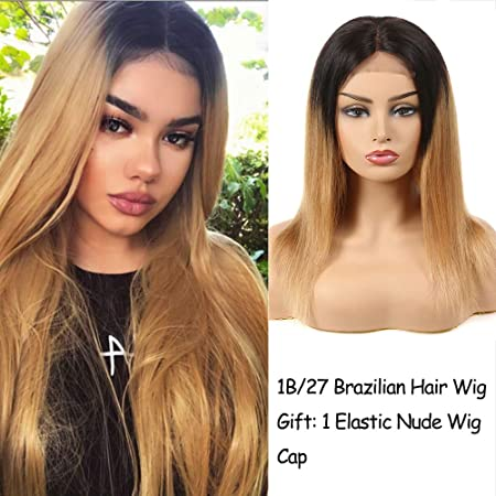 Feelgrace Two Tone Ombre Blonde Straight Hair Brazilian Wigs with 4×4 Lace T1B 27 Middle Part Straight Human Hair 14 inch
