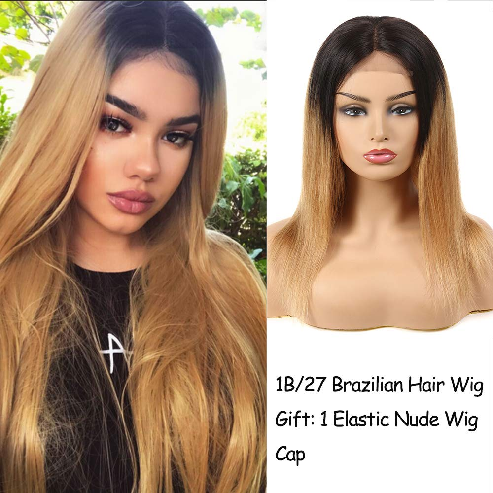 Feelgrace Two Tone Ombre Blonde Straight Hair Brazilian Wigs with 4x4 Lace T1B/27 Middle Part Straight Human Hair (14 inch)