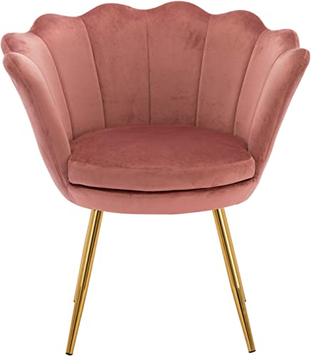 Kmax Living Room Chair, Mid Century Modern Retro Leisure Velvet Accent Chair with Golden Metal Legs, Vanity Chair for Bedroom Dresser, Upholstered Guest Chair – Dusty Pink