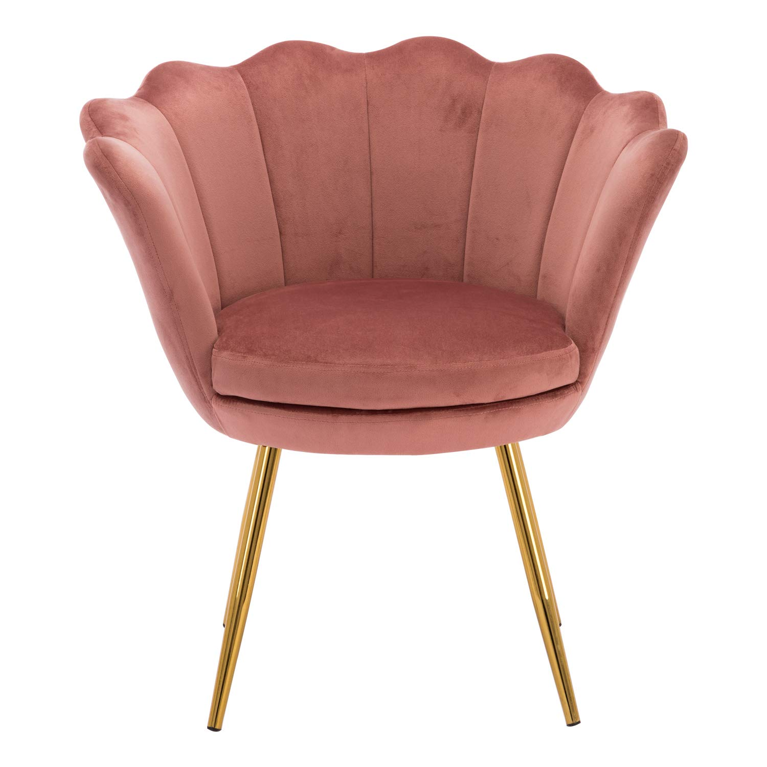 Living Room Chair, Mid Century Modern Retro Leisure Velvet Accent Chair with Golden Metal Legs, Vanity Chair for Bedroom Dresser, Upholstered Guest Chair - Dusty Pink by Kmax
