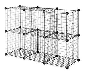 Whitmor Storage Cubes Set of 6 Black Wire