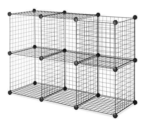 Whitmor Storage Cubes - Stackable Interlocking Wire Shelves - Black (Set of 6) by Whitmor