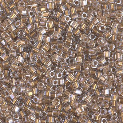 (Beads Cube Miyuki Size 1.8 x 1.8 mm Sparkle Metallic Gold Lined Crystal 10 grams)