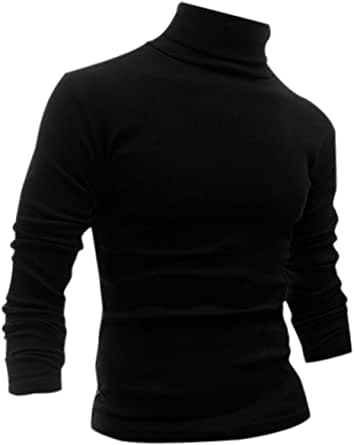 uxcell Men Slim Fit Lightweight Turtleneck Long Sleeve Pullover Top Turtleneck T-Shirt