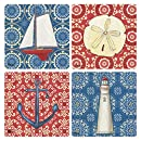"CoasterStone Nautical Chic Absorbent Coasters (Set of 4), 4-1/4"", Multicolor"