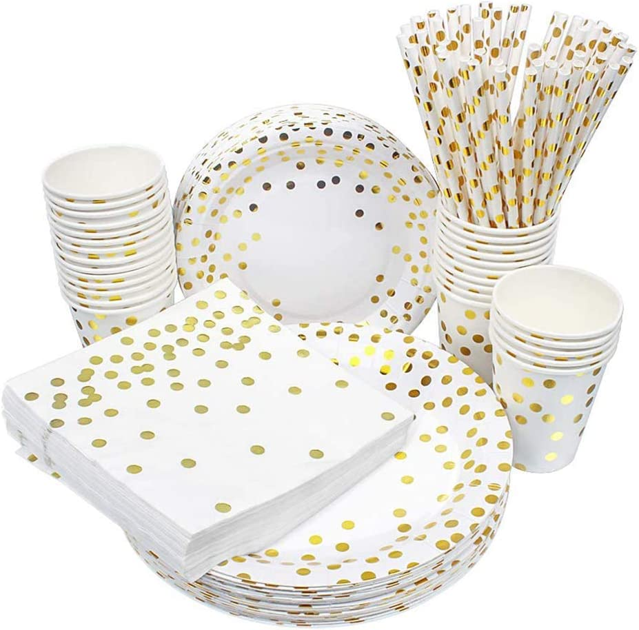 esafio 250 PCS Disposable Paper Plates Set Gold Dot Party Supplier,50 Dinner Plates 50 Dessert Plates 50 9oz Cups 50 Napkins 50 Straws for Birthday Party, Wedding, Baby Shower,Christmas,Serve 50