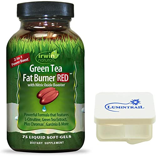 Irwin Naturals Green Tea Fat Burner RED Supplement with Nitric Oxide Booster – 75 Liquid Soft-Gels – Bundle with a Lumintrail Pill Case