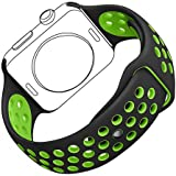 Apple Watch Bracelet, Bandmax iWatch Band Sport TPU Souple Confortable Strap Bracelet de Remplacement Course Léger pour Apple Watch Série 2/Série 1 (Noir/Volt, 38MM)
