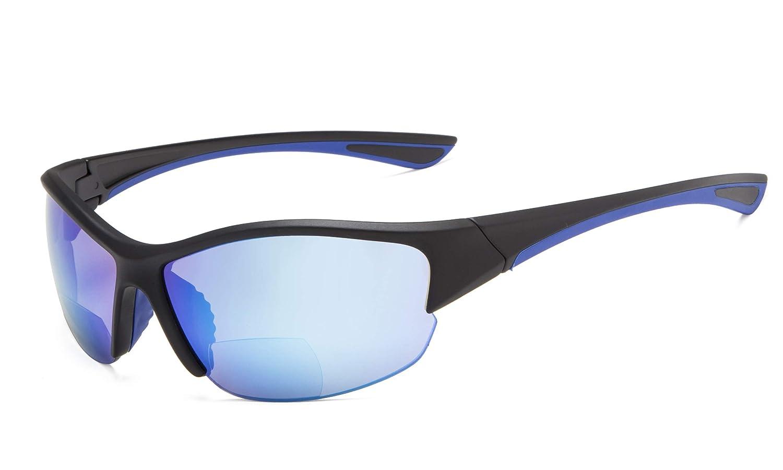 TALLA +2.50. Eyekepper Half-Frame Deportivas Gafas De Sol Bifocales +2.50 Gafas De Sol De Lectura (Azul Espejo)