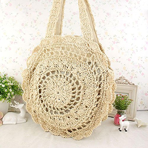 Summer Shopping Beige Handbags Shoulder Women Beach Round Bags Totes Woven Crotch Powlance f6Z1w6