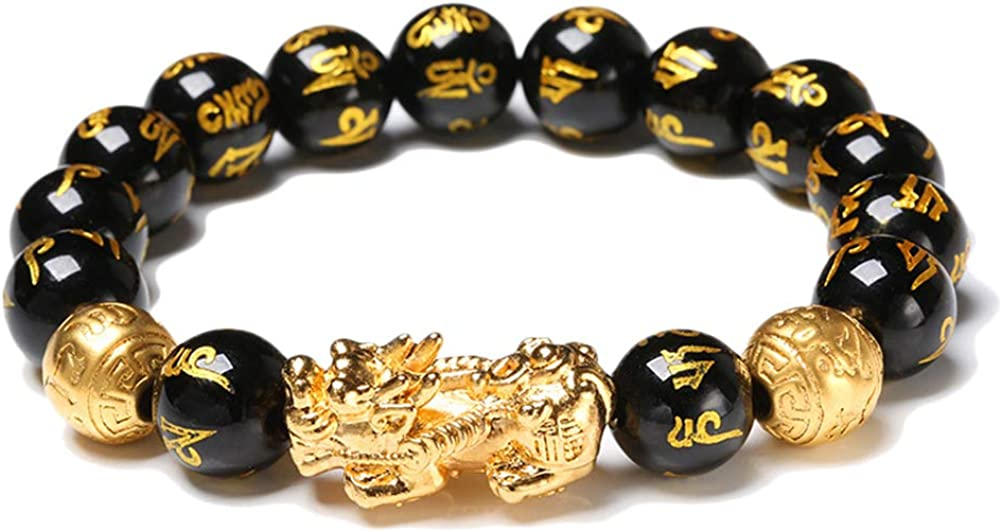 Nerplro Feng Shui Golden Pi Xiu Lucky Wealthy Amulet Pulsera Negro Natural Obsidiana Riqueza