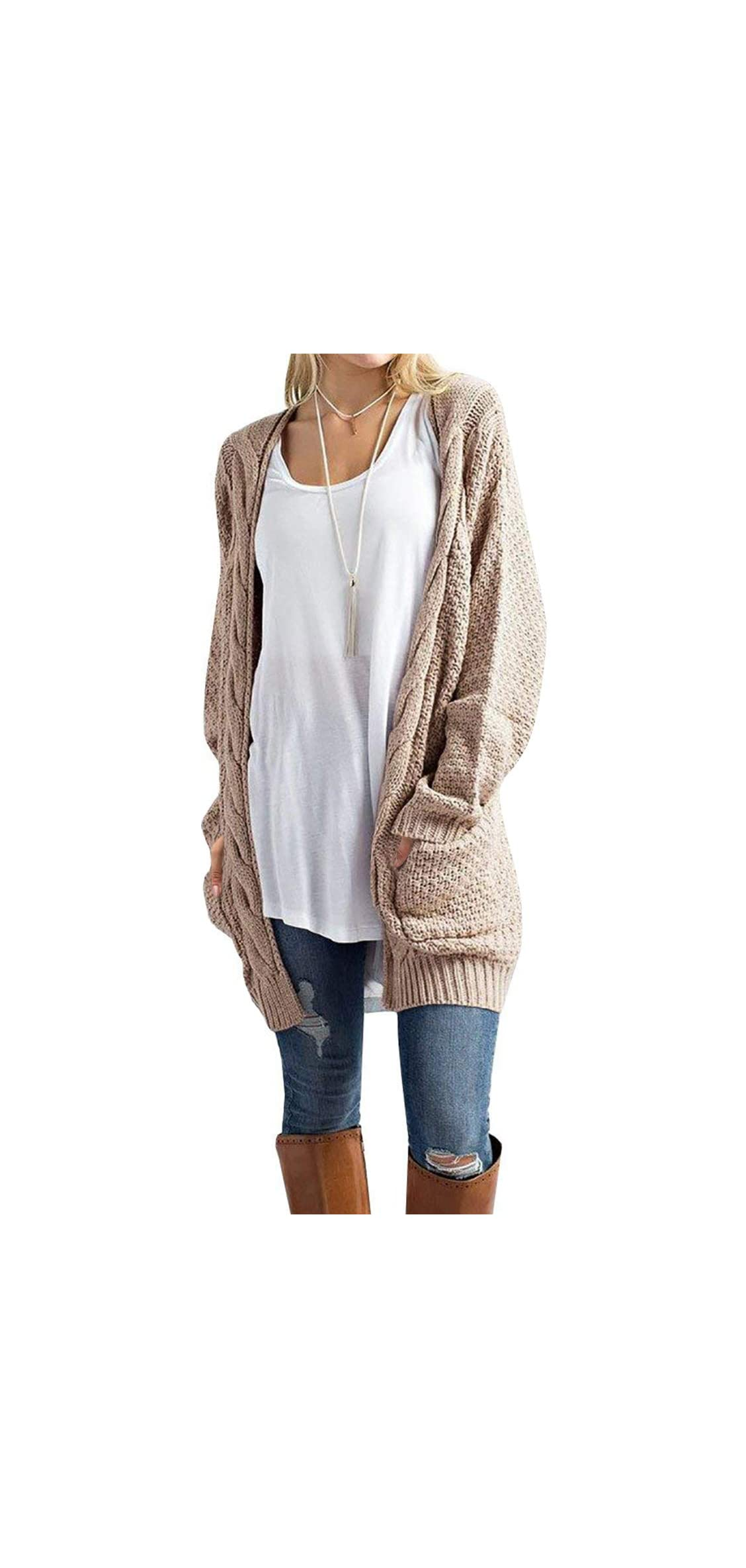 Women's Open Front Long Sleeve Boho Boyfriend Knit
