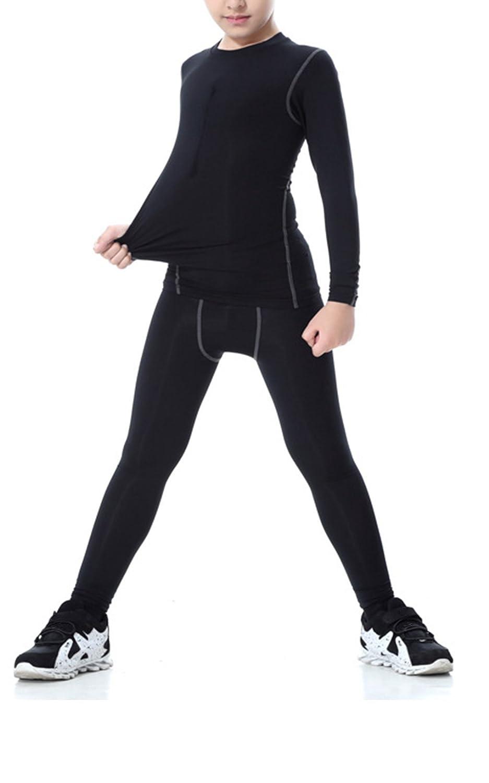 LANBAOSI Boys & Girls Long Sleeve Compression Shirts and Pant 2 Pcs Set