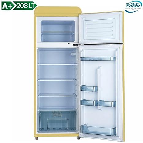 Daya DDPV 208HTC Frigorifero Doppia Porta Design Vintage Daya Capacità 208  Litri Classe A+ Crema