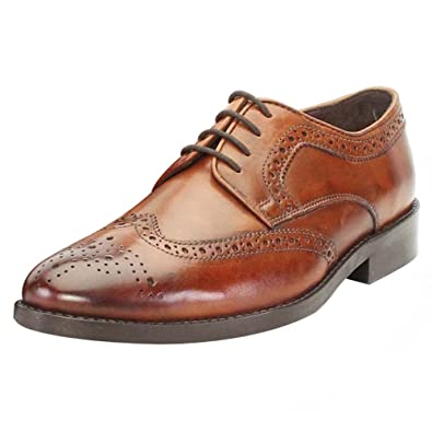 Brune for Men\'s tan Colour Leather Full Brogue Formal Shoe: Buy ...