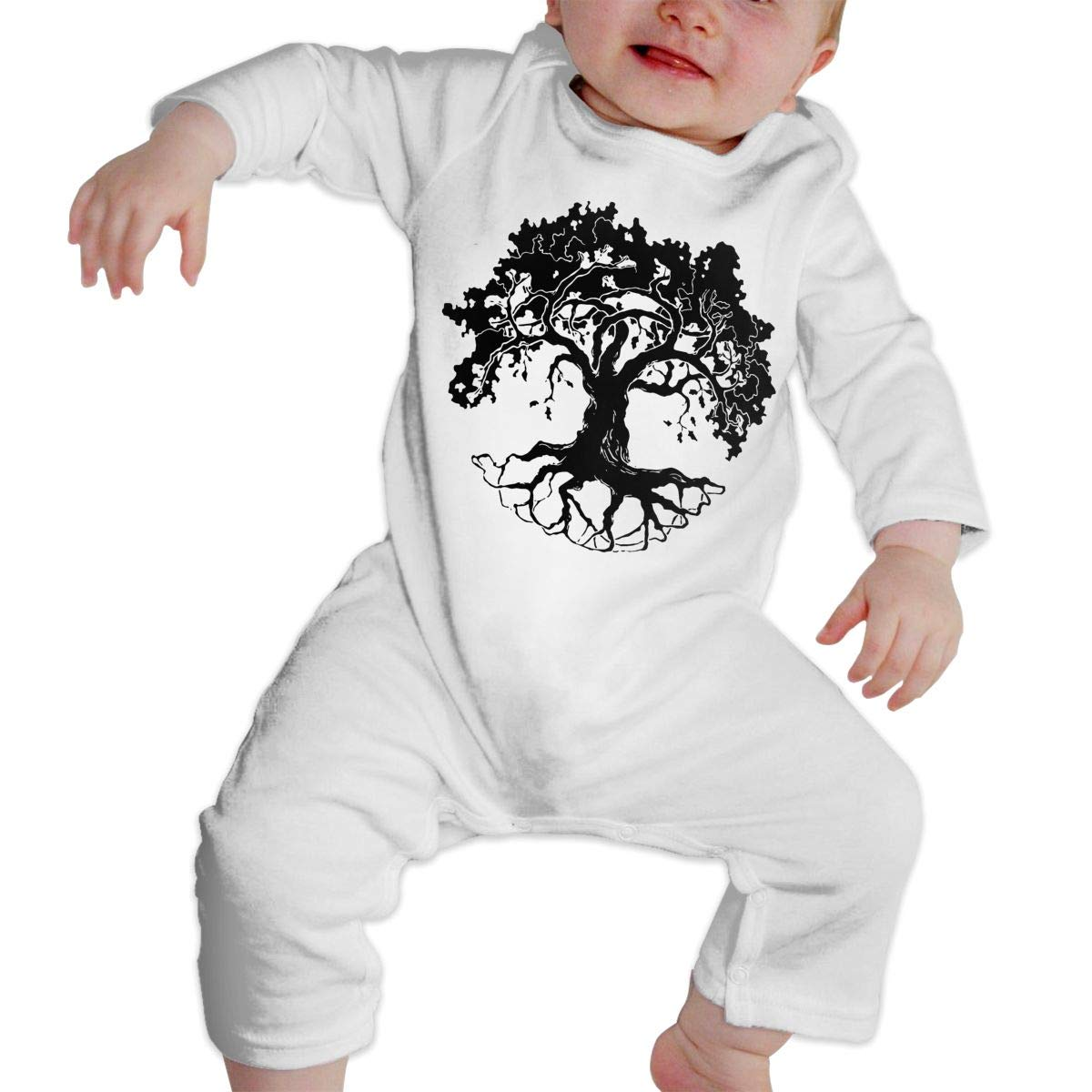 Fashion Oak Tree Playsuit U99oi-9 Long Sleeve Cotton Bodysuit for Unisex Baby