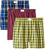 Tommy Hilfiger Men's Underwear 3 Pack Cotton Classics Woven Boxers,  Multi,  Large