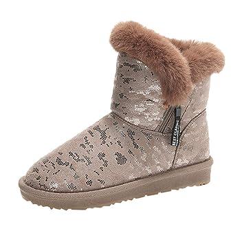 ZHRUI Botas para mujer, botas de invierno cálidas para la nieve con estilo Zapatillas planas