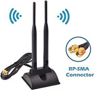TECHTOO WiFi Antenna Dual Band 2.4GHz - 5.8GHz with RP-SMA Connector Magnetic Base for Wireless Network Router - USB Adapter - PCI PCIe Cards - Signal Booster - Access Point - Wireless Range Extender