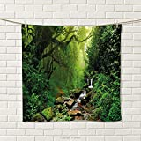 smallbeefly Nature Hand Towel Into The Woods Idyllic Forest Greenland Dreamy Mystic Fresh Tropical View Quick-Dry Towels Emerald Hunter Green Size: W 20'' x L 36''