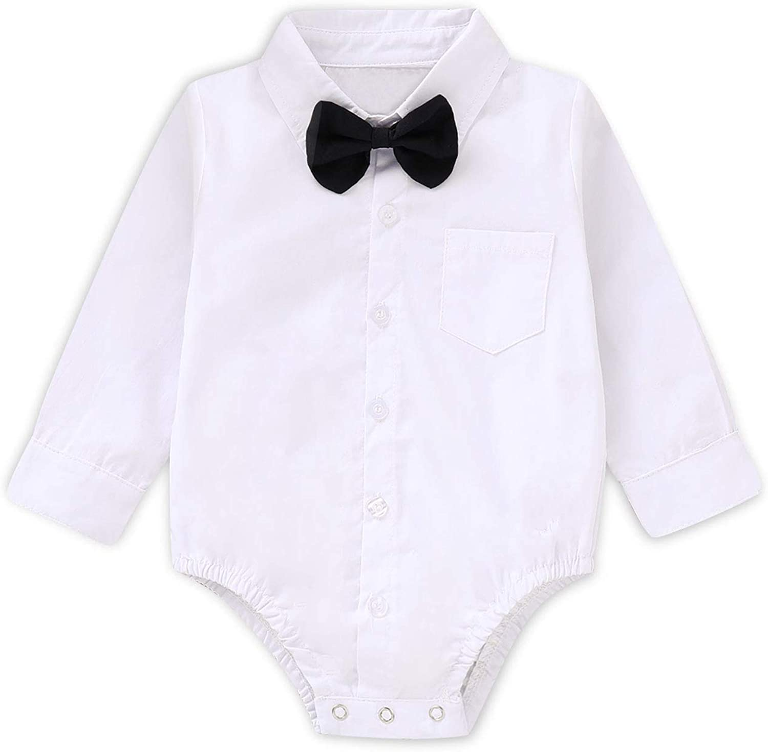 SOBOWO Baby Boys Dress Shirt Bodysuit Infant Gentleman Long Sleeve Formal Romper Jumpsuit Wedding Party Outfits Pack of 2