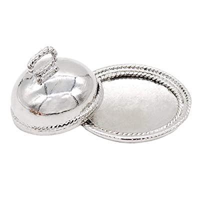 Odoria 1:12 Miniature Sliver Serving Plate Dish with Lid Dollhouse Kitchen Accessories: Toys & Games [5Bkhe0905190]