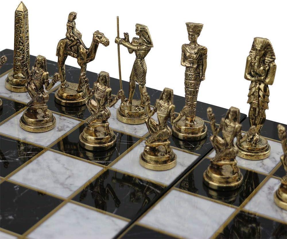 GiftHome (sólo piezas de ajedrez) Históricas hechas a mano egipcio faraón figuras de ajedrez de metal tamaño mediano King 3.5 Inc (tabla no está incluida): Amazon.es: Hogar