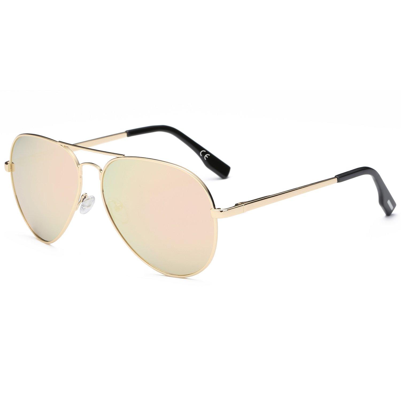 amztm doble puente Metal marco espejo revo lentes polarizadas Gafas de sol de aviador
