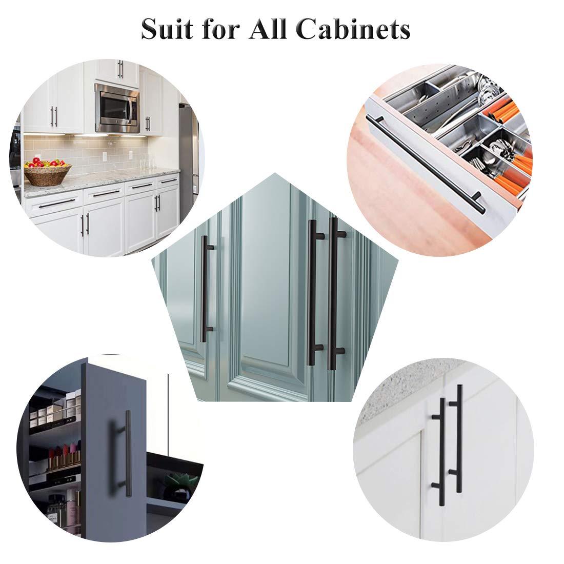 Probrico Flat Black Modern Cabinet Hardware Cupboard Pull Kitchen Cabinet T Bar Handle Dresser Knobs Set 4 Hole Spacing 25 Pack