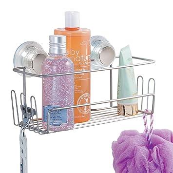 mDesign Estantería para ducha colgante – Repisa de baño fijado por succión sin  taladrar – Estante efdebc92c6b9