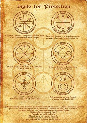 Amazon Com Sigils For Protection Scroll Geniuses Kabbalah Poster