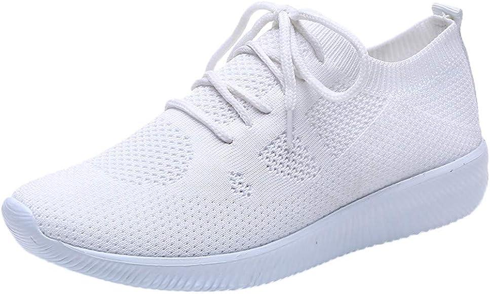 LANSKIRT Zapatillas Running de Mujer Zapatos Deportivos de Malla con Cordones de Transpirables para Actividades Al ...