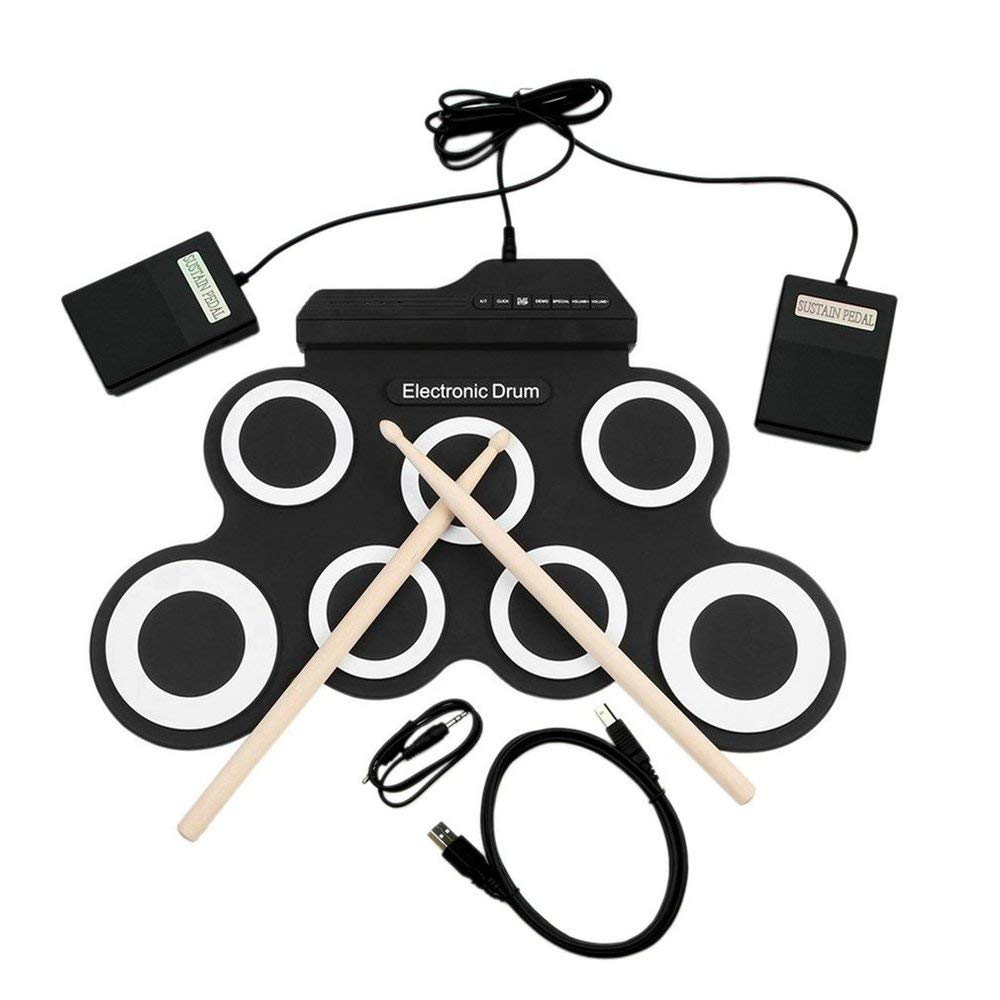 Banghotfire USB Electronic Drum G3002 Drum Kit Drum Set Percussion Instrument for Children Black&White by Banghotfire