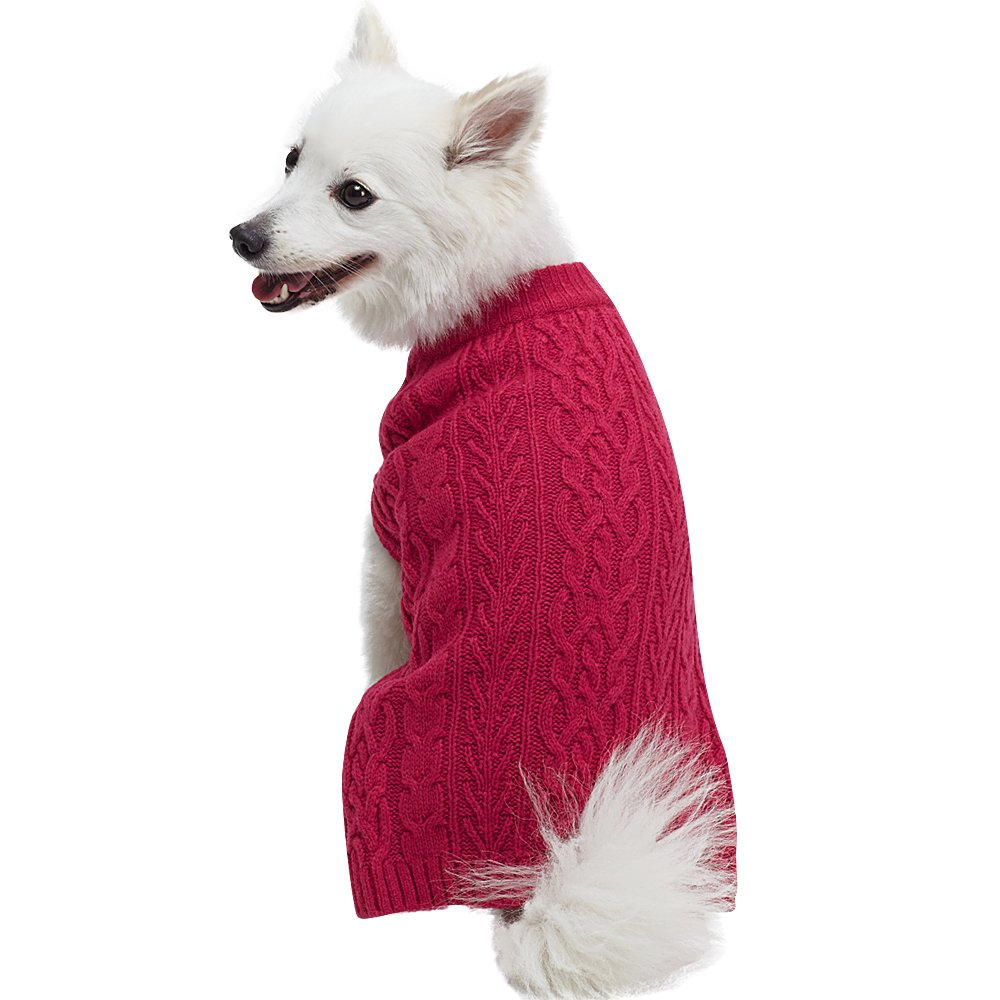 Blueberry Pet 16 Colors Classic Wool Blend Cable Knit Pullover Dog Sweater in Cerise Pink, Back Length 20'', Pack of 1 Clothes for Dogs
