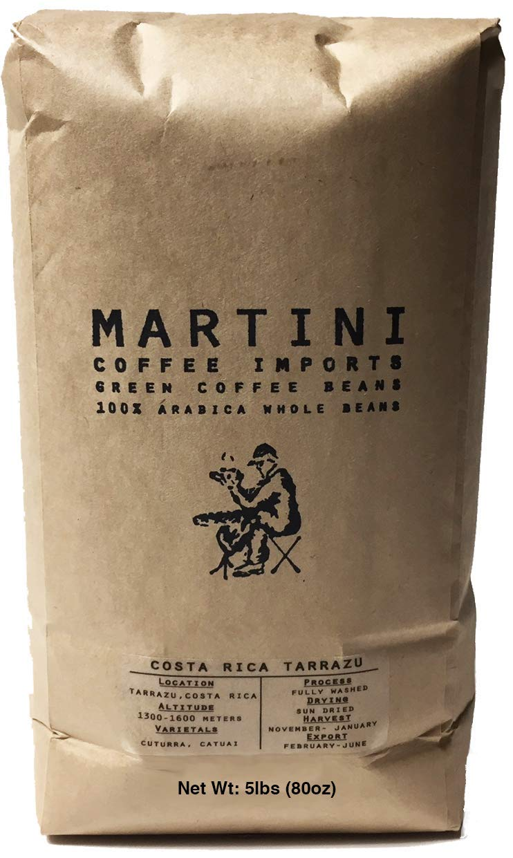 5LBS - Unroasted Green Coffee Beans - Single Origin - Costa Rica Tarrazu -100% Raw Green Arabica Coffee Beans - (Tarrazu Region, Costa Rica, Central America) by Martini Coffee Roasters