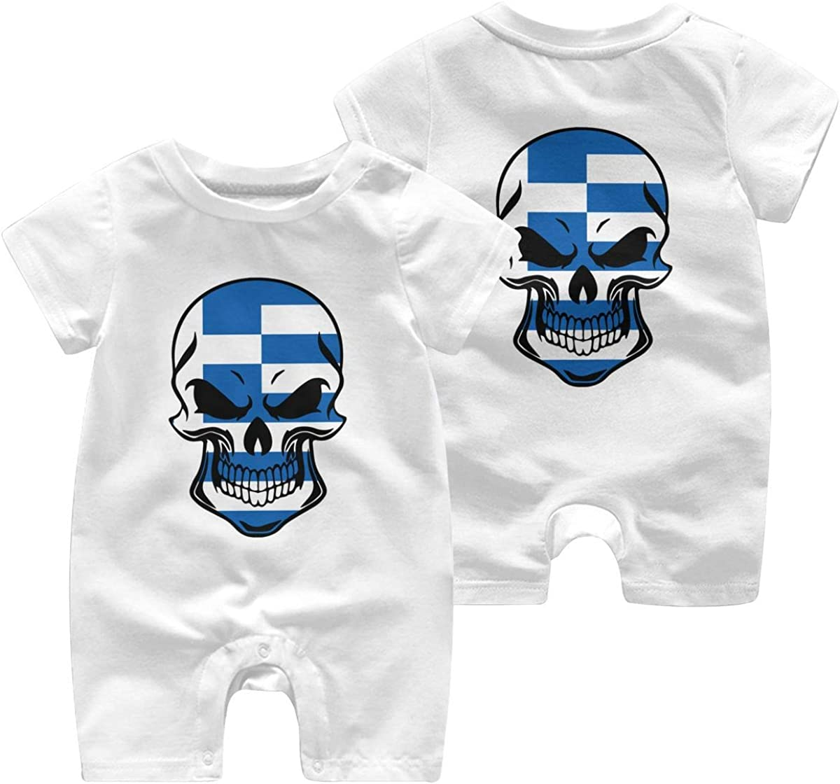 Mri-le1 Toddler Baby Boy Girl Organic Coverall Greece Greek Flag Skull-1 Infant Short Sleeve Romper Jumpsuit