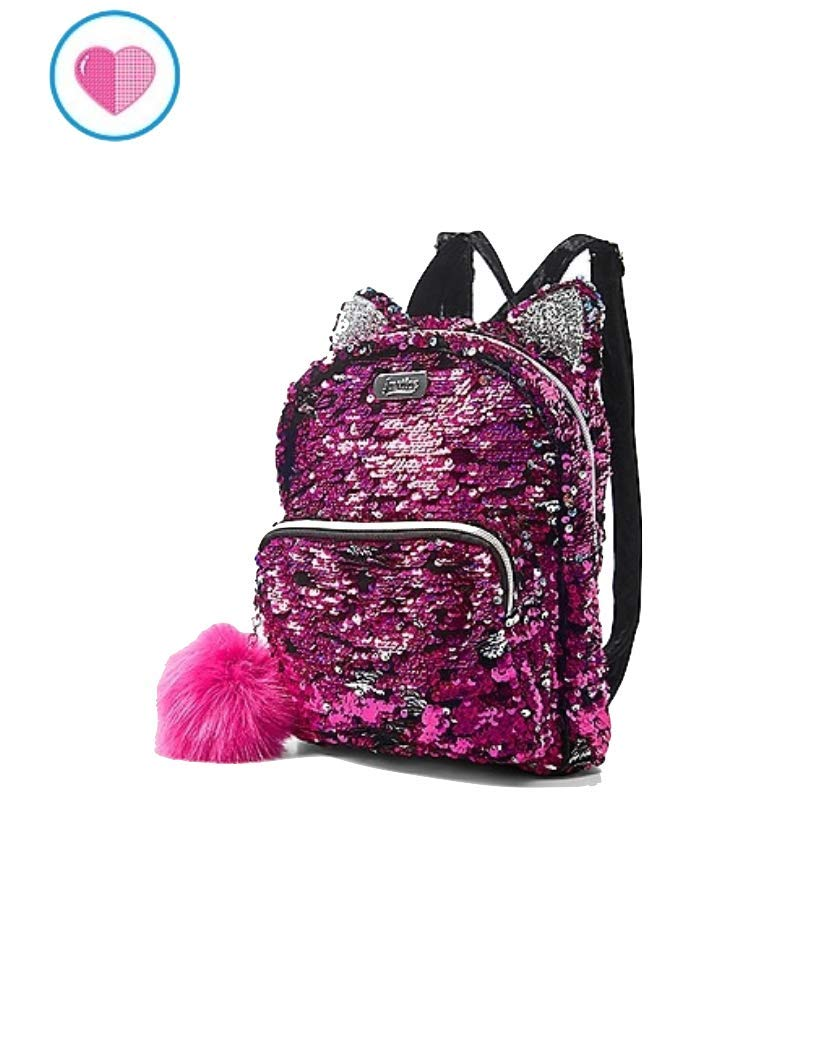 Justice Flip Sequin Mini Small Backpack Kitty Silver Ruby
