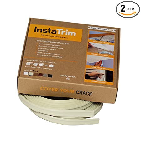 InstaTrim - Universal, Flexible, Adhesive Trim Solution - Cover Gaps Between Walls, Floors, Ceilings, and More (Ivory), Pack of 2 - - Amazon.com