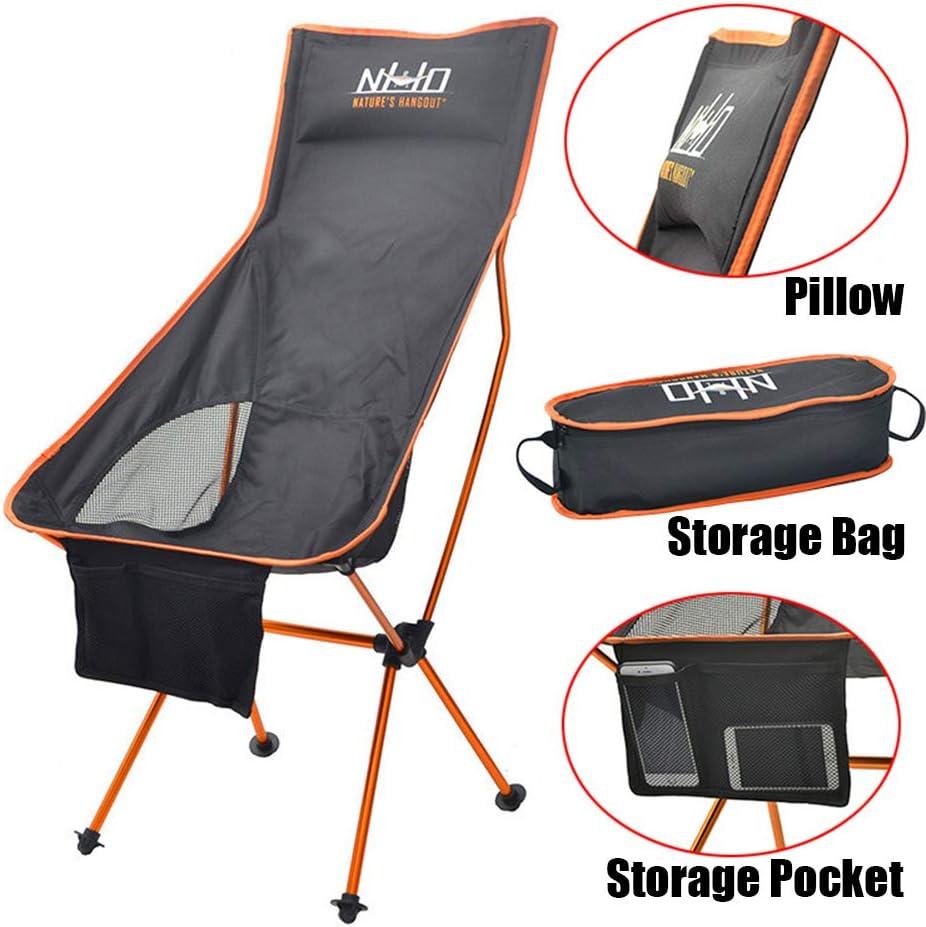 ACHICOO Portable Chaise Pliante pêche Camping Tabouret Barbecue Pliant Longue randonnée siège Ultra-léger Meubles Orange