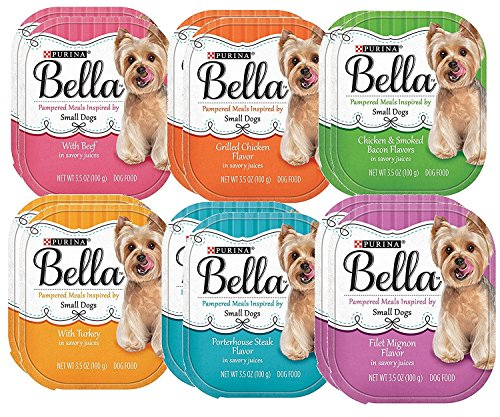 Purina Bella Small Dog Food 6 Flavor 12 Can Bundle: (2) Beef, (2) Grilled Chicken, (2) Turkey, (2) Porterhouse Steak, (2) Filet Mignon, (2) Chicken & Smoked Bacon, 3.5 Oz. (Bella Dog)