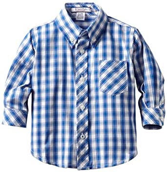 Kitestrings Baby Boys' Check Button Front Shirt, Blue/White Check, 12 Months