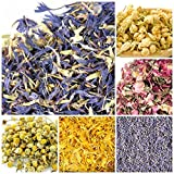 bMAKER Bulk Botanical Flowers Kit (6pack) Edible & Kosher Certified 1.5 cups each of Jasmine, Cornflowers, Lavender, Marigold, Chamomile and Pink Rose Buds & Petals, 2ml of Rose Absolute Essential Oil