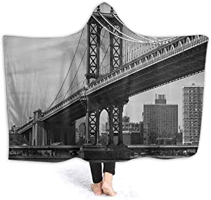 New York Childrens Hooded Blanket Kids Size Bridge of NYC Vintage East Hudson River Image USA Travel Top Place City Photo Art Print for Adult and Kids 60 x 50 Inch Grey