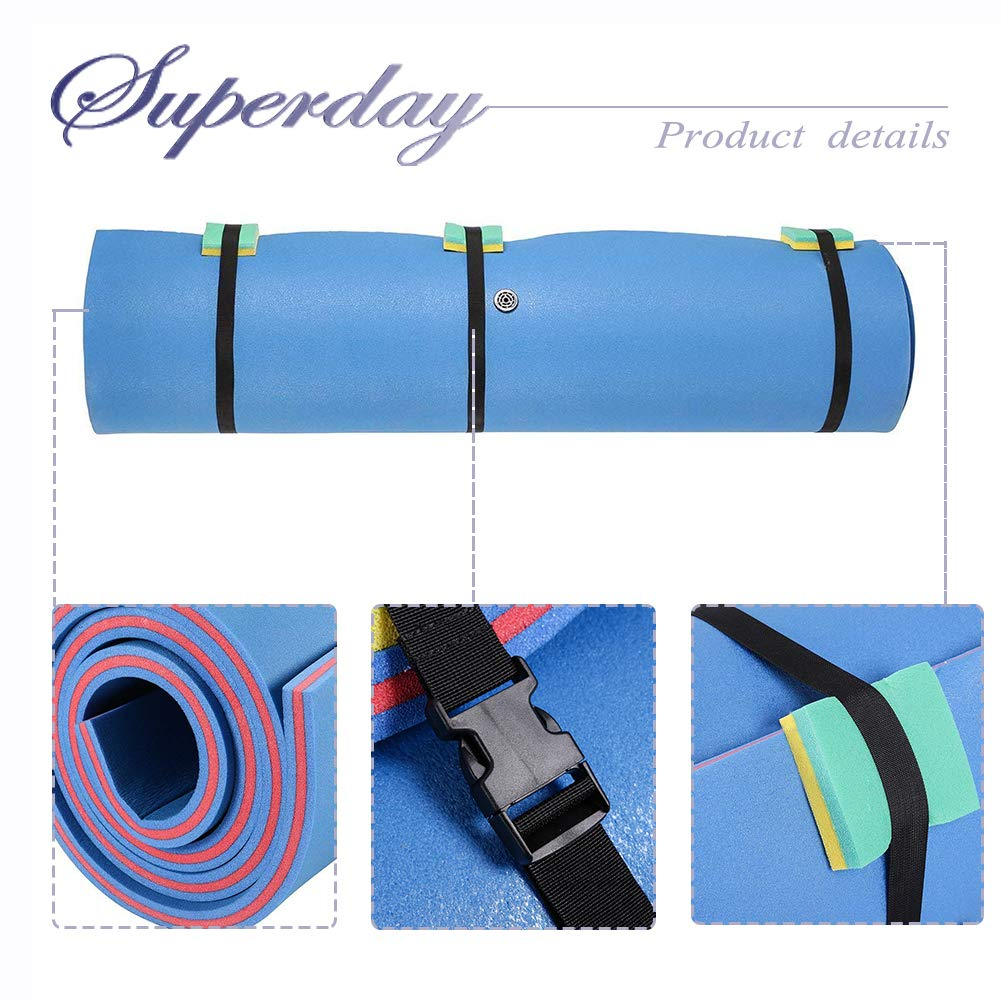 Superday Floating Water Mat Recreation Foam Pad Adults Kids Relax On Pool Lake&Ocean 9' x 6, Blue by Superday (Image #5)