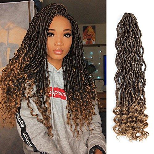 "Lihui 6Pcs/Lot Goddess Locs Crochet Hair Faux Locs Crochet Hair Wavy Faux Locs with Curly Ends Synthetic Braiding Hair Extension (20"""
