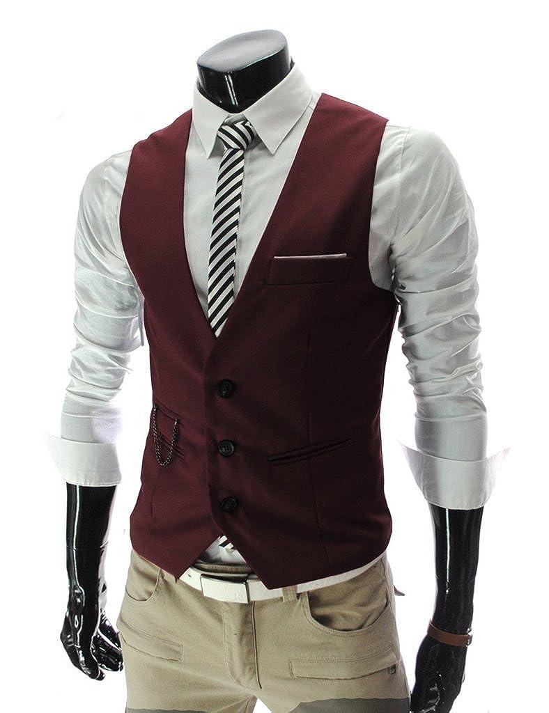Angcoco Men's Sleeveless Top Designed Casual Slim Fit Blazer Suit Vest Waistcoat