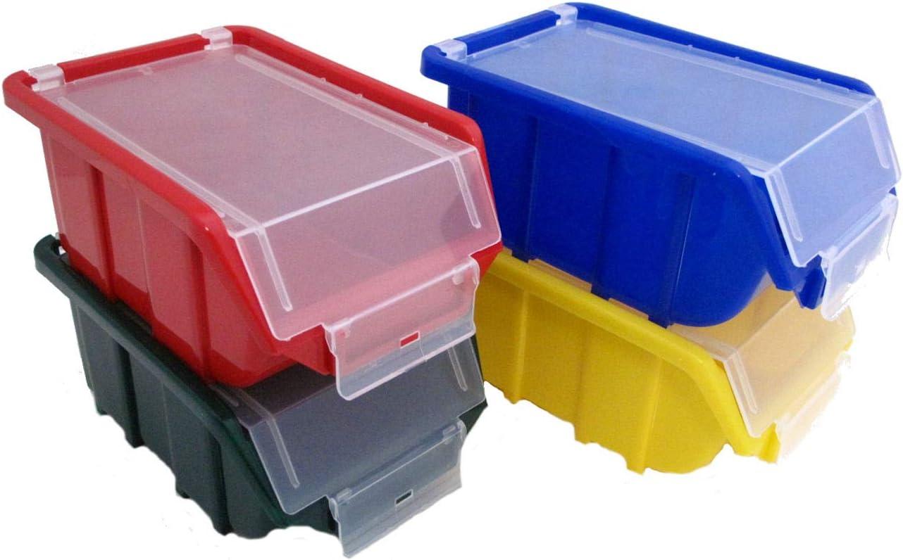 3 Stapelbox Lagerkisten Lagerboxen 72 Stück Sichtlagerboxen grün Gr