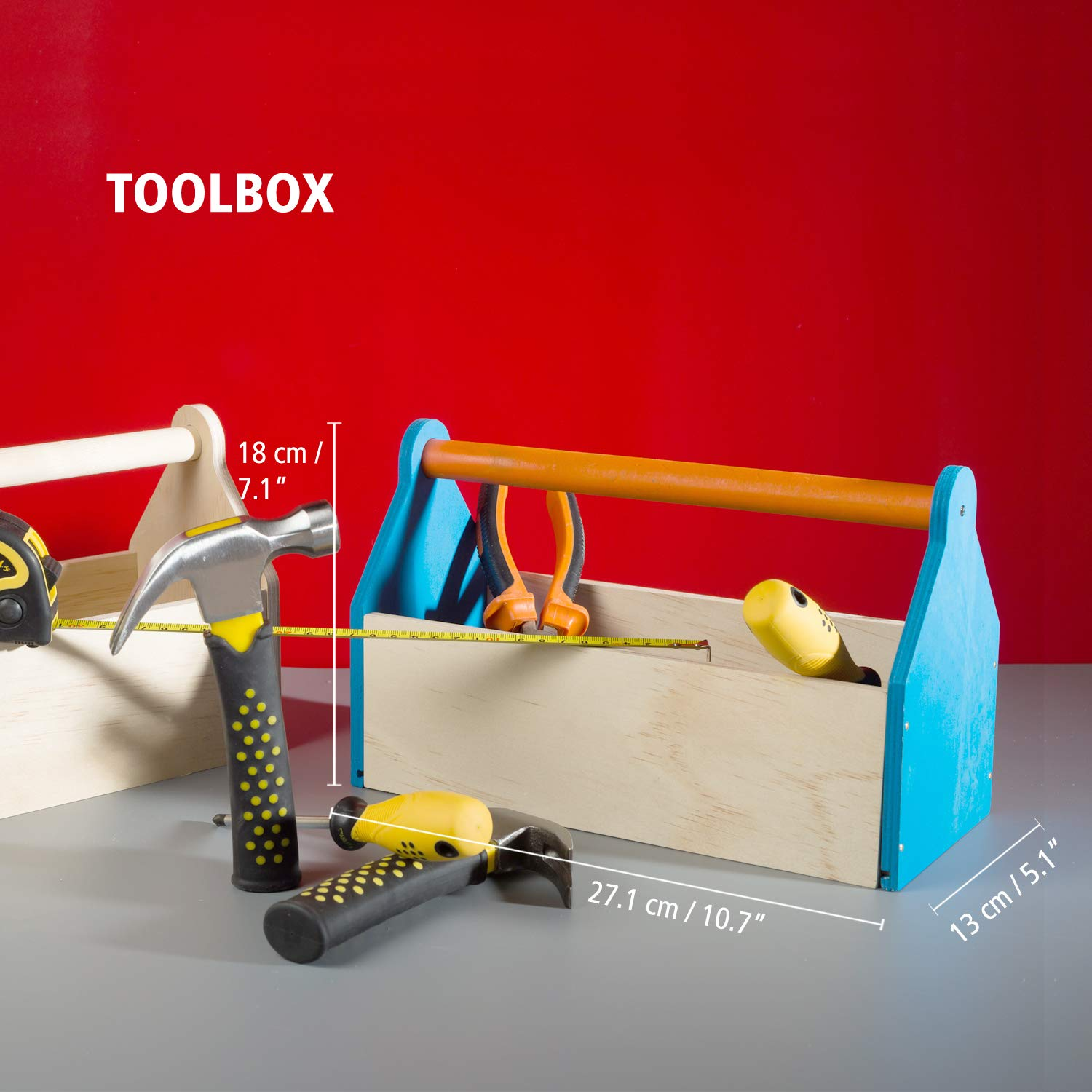 Stanley Jr DIY Toolbox Kit for Kids - Easy to Assemble Wood Craft Toolbox - Build A Tool Box for Kids - Paint & Brushes Included by Stanley Jr (Image #7)