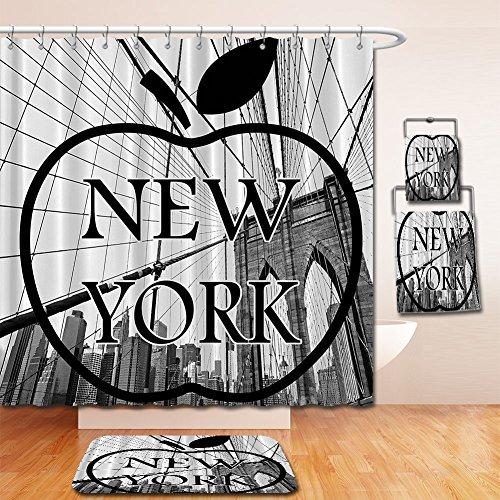 LiczHome Bath Suit: Showercurtain Bathrug Bathtowel Handtowel Americana for Apartment Home Decor Cityscape NYC Big Apple Iove New York City View Manhattan Brooklyn Modern Art Prints Fabric Set Black (Capitale Nyc Halloween)
