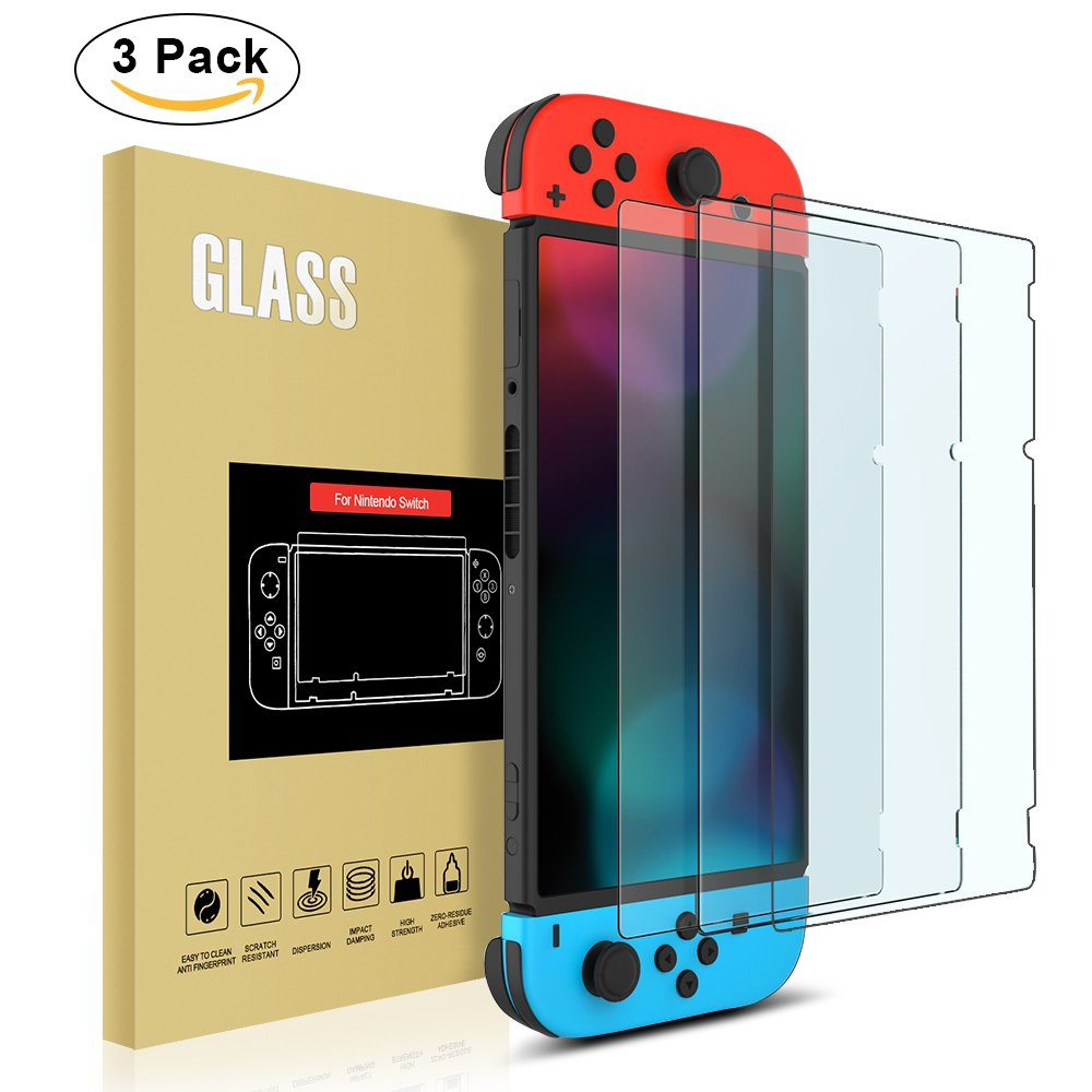 3 Pack Nintendo Switch Screen Protector , [Anti-Scratch] Tempered Glass Screen Protector for Nintendo Switch (2017) by YONTEX: Amazon.es: Videojuegos